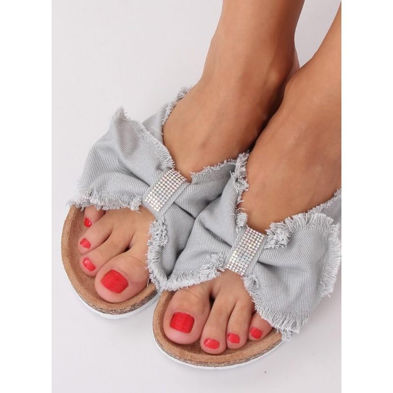 Plátěné dámské pantofle šedé barvy s korkovou podrážkou