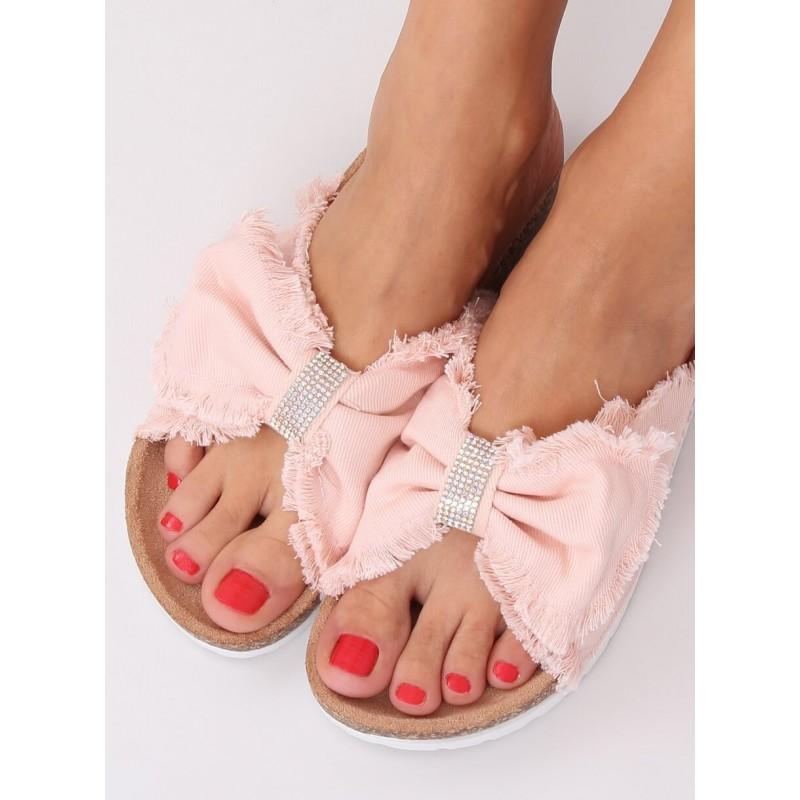 Plátěné dámské pantofle růžové barvy s korkovou podrážkou