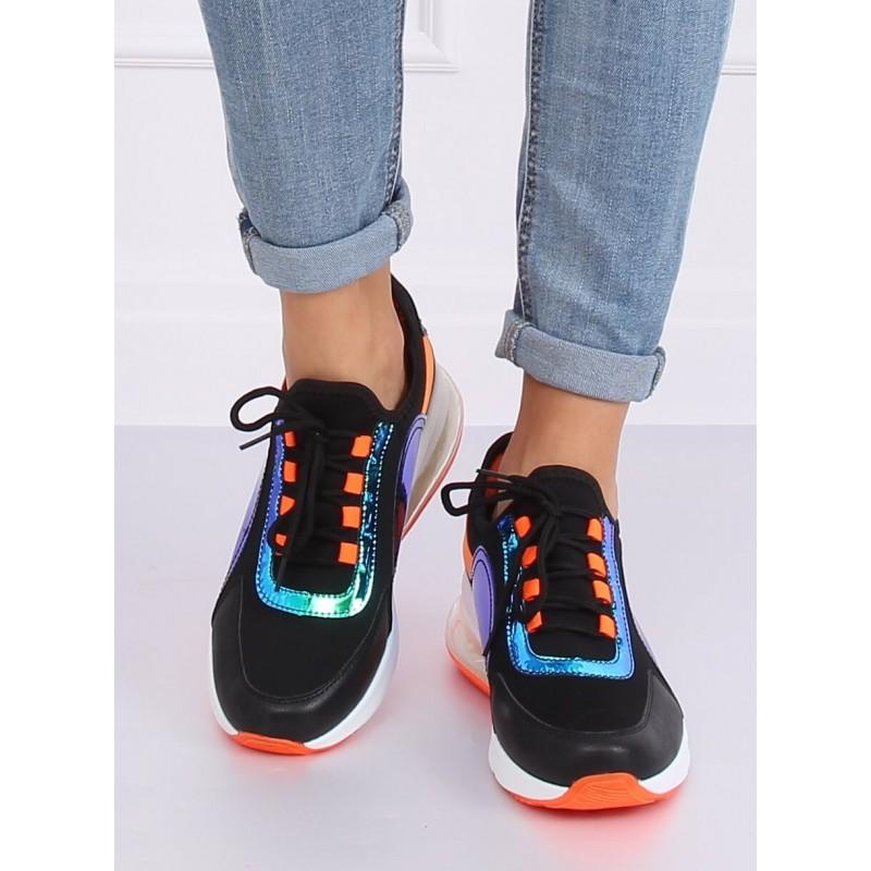Dámské stylové tenisky s holografickými prvky v černo-oranžové barvě