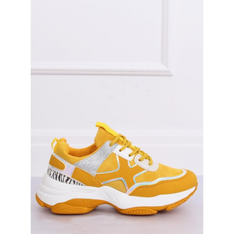 Žluté sportovní tenisky s masivní podrážkou pro dámy