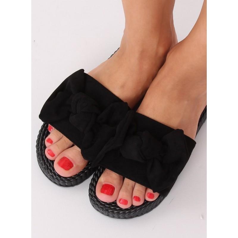 Černé pohodlné pantofle s mašlí pro dámy