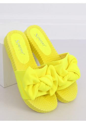 Dámské pohodlné pantofle s mašlí ve žluté barvě