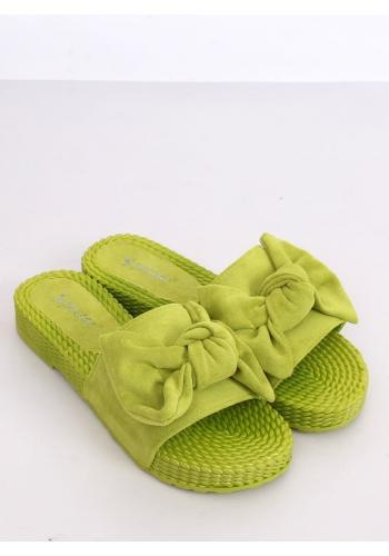Pohodlné dámské pantofle zelené barvy s mašlí