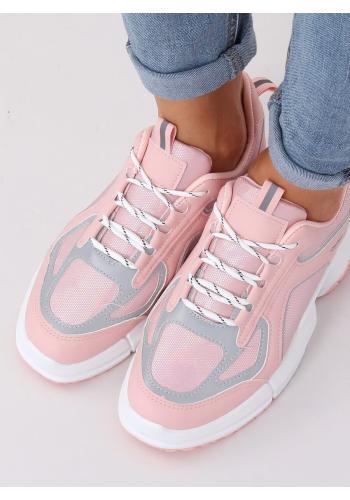 Dámské sportovní tenisky s vysokou podrážkou v růžové barvě