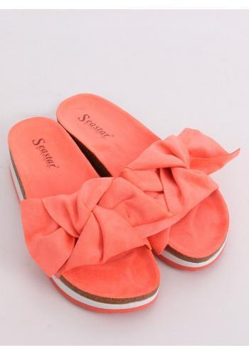 Dámské semišové pantofle s vysokou podrážkou v korálové barvě