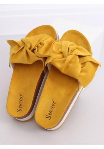 Semišové dámské pantofle žluté barvy s vysokou podrážkou