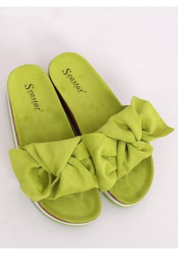 Zelené semišové pantofle s vysokou podrážkou pro dámy