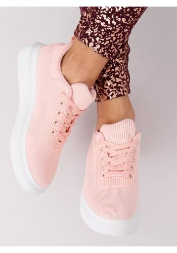 Růžové módní tenisky na vysoké podrážce pro dámy