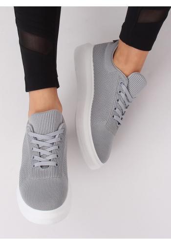 Módní dámské tenisky šedé barvy na vysoké podrážce