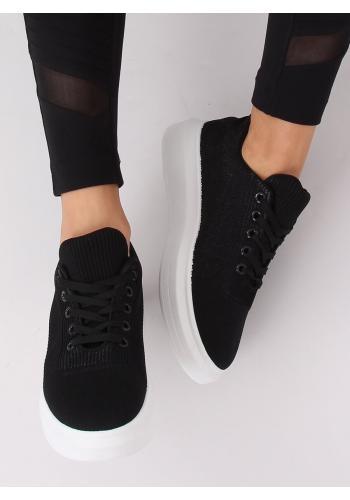 Dámské módní tenisky na vysoké podrážce v černé barvě