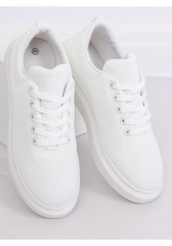Bílé módní tenisky na vysoké podrážce pro dámy