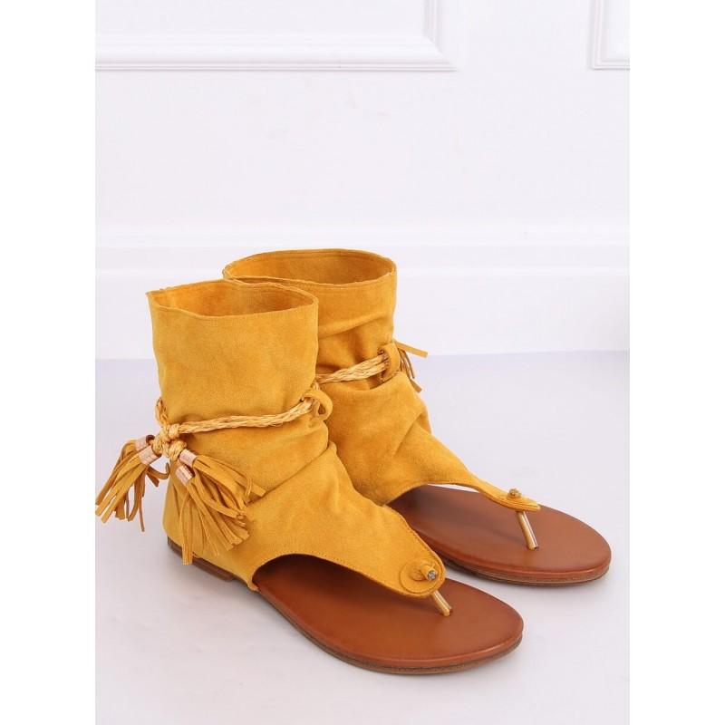 Dámské semišové sandály se svrškem ve žluté barvě