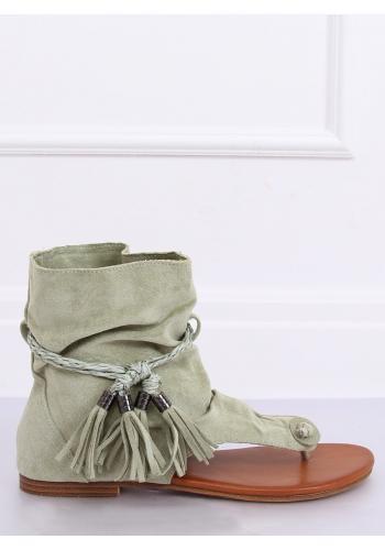 Semišové dámské sandály zelené barvy se svrškem