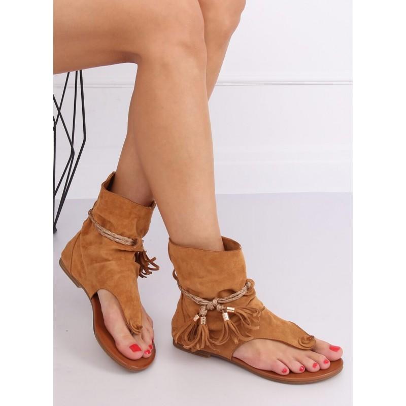 Hnědé semišové sandály se svrškem pro dámy