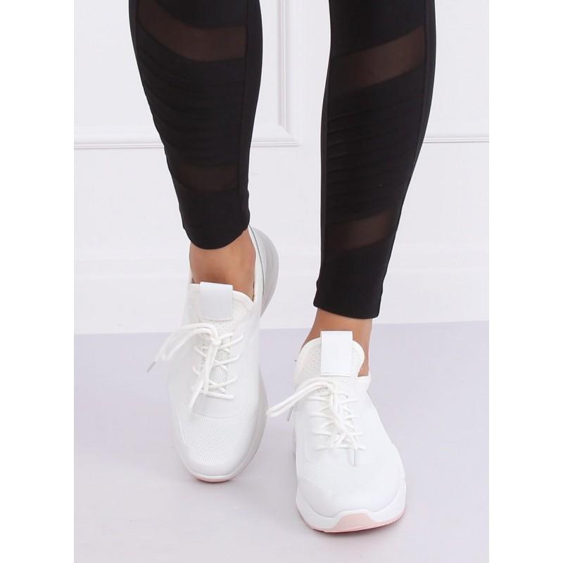 Módní dámské tenisky bílé barvy s růžovými prvky