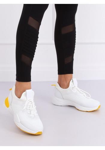 Dámské módní tenisky se žlutými prvky v bílé barvě