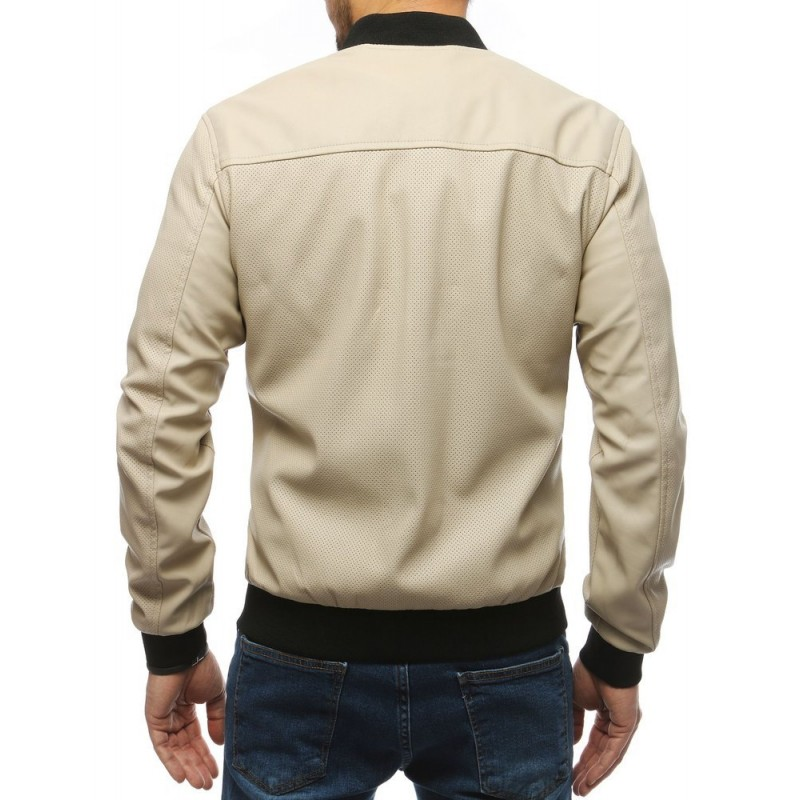Pánská kožená bunda na jaro v béžové barvě