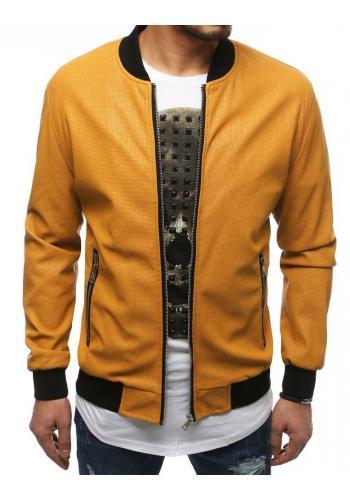 Pánská kožená bunda na jaro ve žluté barvě