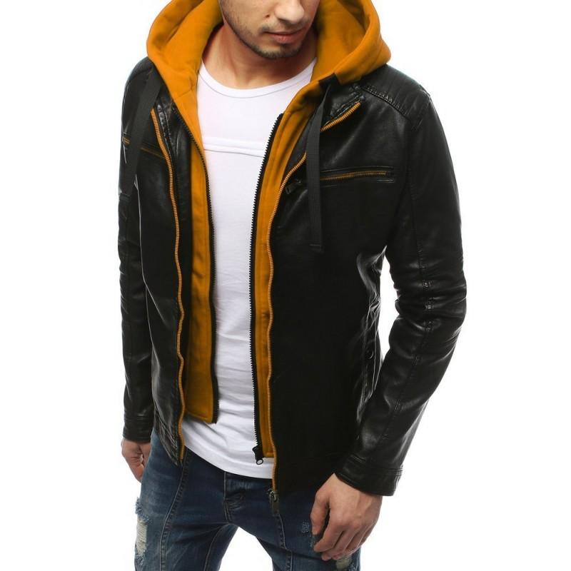 Kožená pánská bunda černé barvy se žlutými prvky