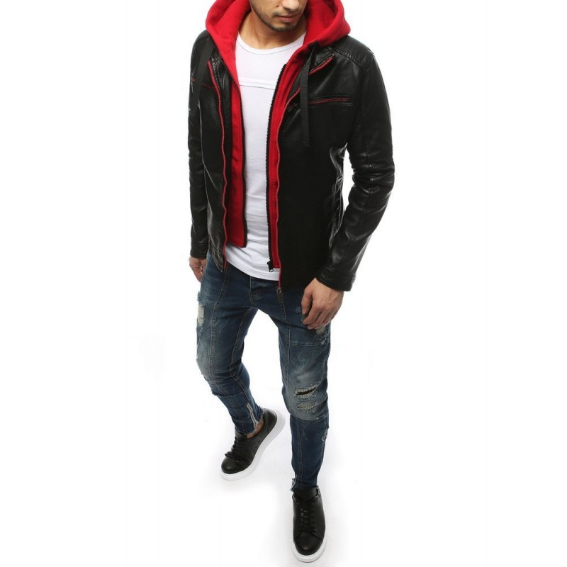 Pánská kožená bunda s červenými prvky v černé barvě