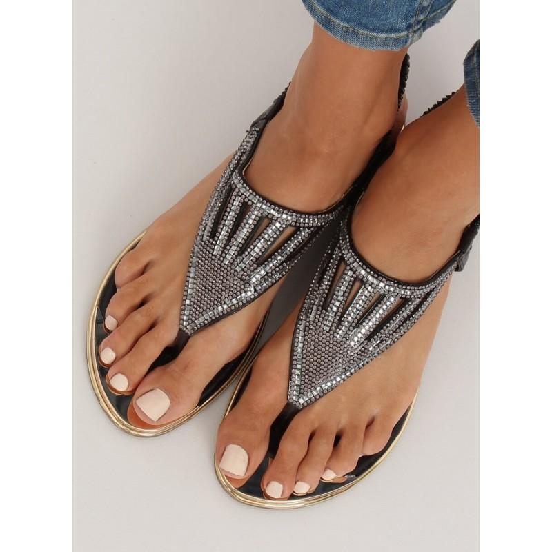 Dámské módní sandály s kamínky v černé barvě
