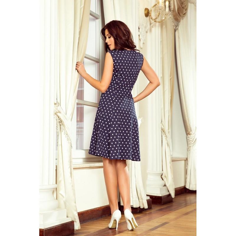 Tmavě modré bavlněné šaty s tečkami pro dámy