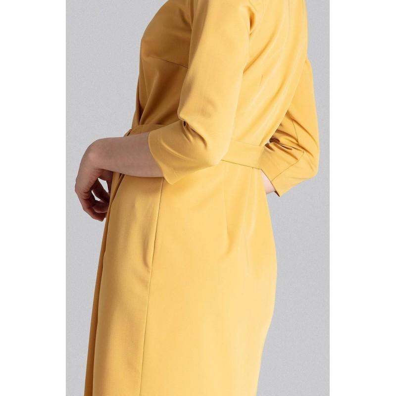 Hořčicové klasické šaty s ozdobným vázáním pro dámy