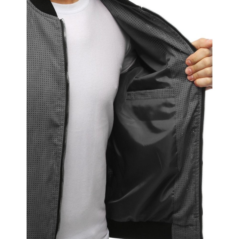 Pánská jarní Bomber bunda v šedé barvě