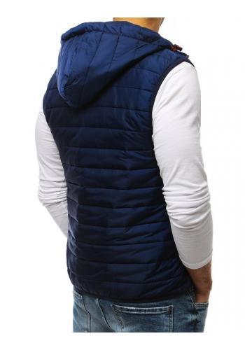 Tmavě modrá prošívaná vesta s kapucí pro pány