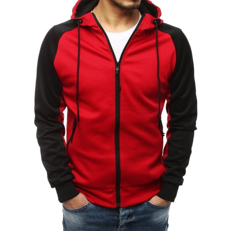 Klasická pánská mikina červené barvy s kapucí