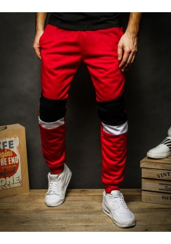 Červené stylové tepláky s kontrastními vložkami pro pány