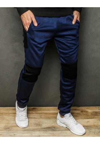 Tmavě modré sportovní tepláky s kontrastními vložkami pro pány