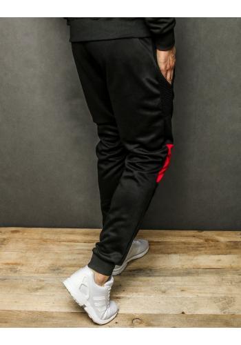 Sportovní pánské tepláky černé barvy s kontrastními vložkami