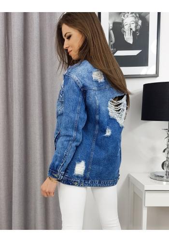 Riflová dámská bunda modré barvy s dírami