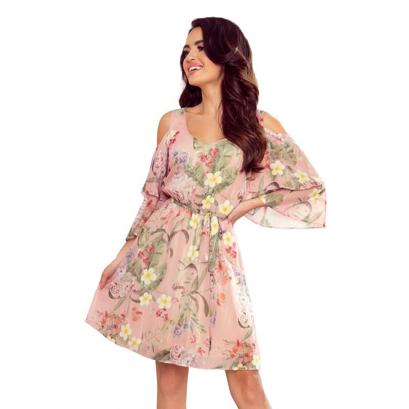 Růžové vzdušné šaty s květinami pro dámy