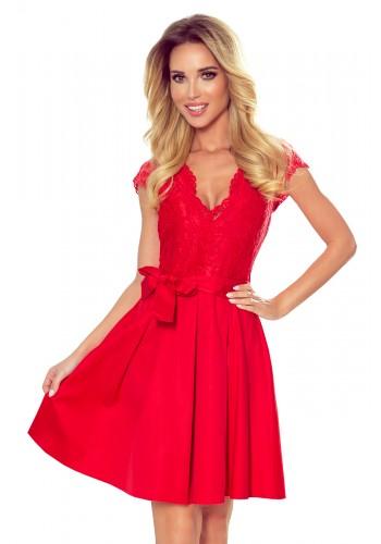 Dámské rozšířené šaty s krajkou v červené barvě