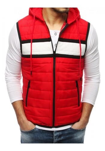 Pánská prošívaná vesta s kapucí v červené barvě