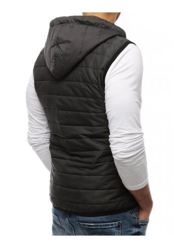Prošívaná pánská vesta tmavě šedé barvy s kapucí