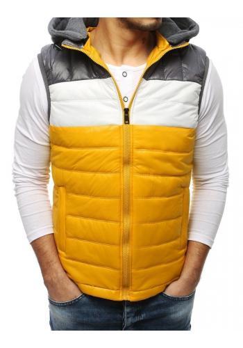 Prošívaná pánská vesta žluté barvy s teplákovou kapucí