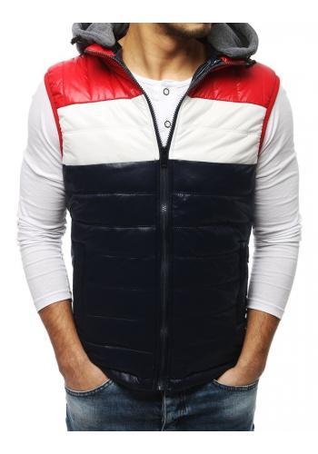 Tmavě modrá prošívaná vesta s teplákovou kapucí pro pány