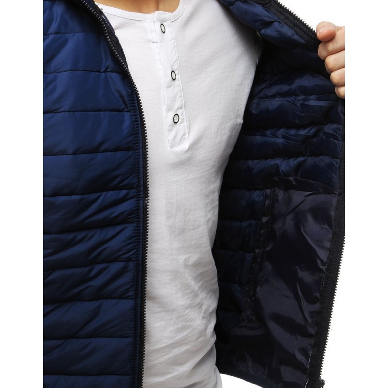 Prošívaná pánská vesta tmavě modré barvy s kapucí