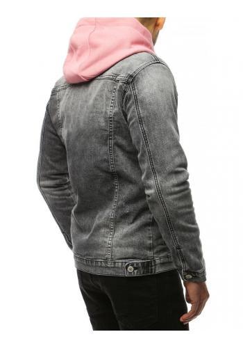 Riflová pánská bunda světle šedé barvy se zapínáním na knoflíky