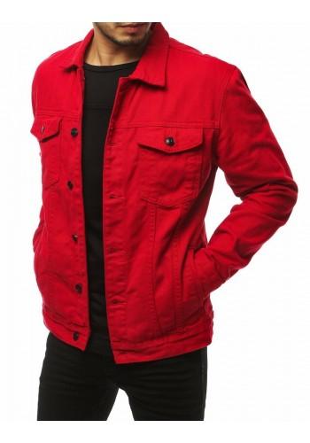 Červená riflová bunda s potiskem na zádech pro pány