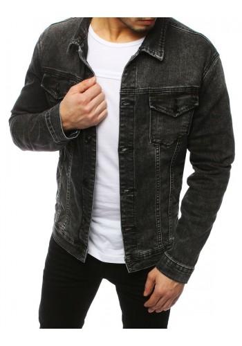Pánská riflová bunda s potiskem na zádech v šedé barvě