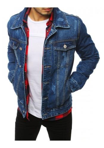 Riflová pánská bunda modré barvy se zapínáním na knoflíky