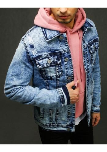 Světle modrá riflová bunda s potiskem na zádech pro pány