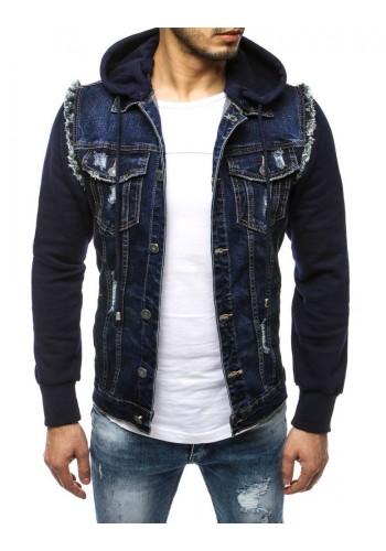 Riflová pánská bunda tmavě modré barvy s teplákovými rukávy a kapucí