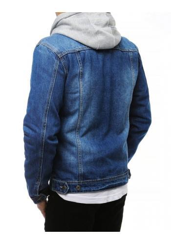 Modrá riflová bunda se zapínáním na knoflíky pro pány