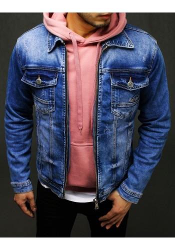 Pánská riflová bunda se zapínáním na zip v modré barvě