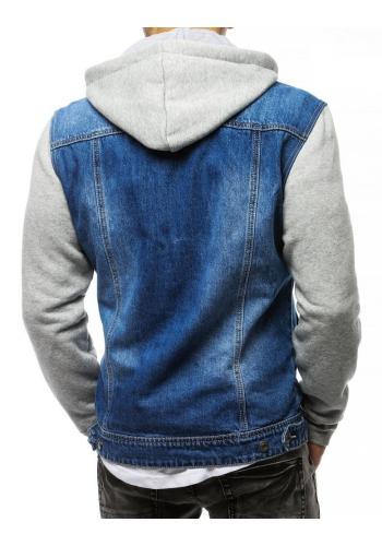 Riflová pánská bunda modré barvy s teplákovými rukávy a kapucí